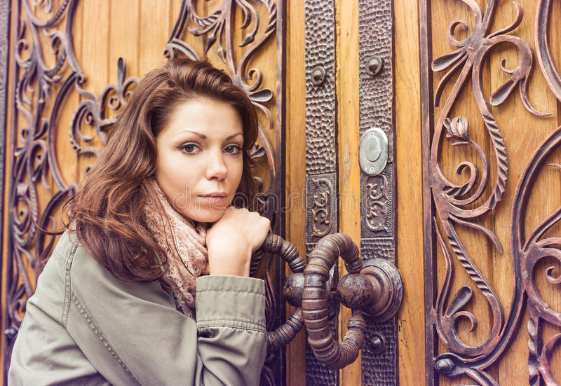 Woman door retro. Forging vintage royalty free stock images