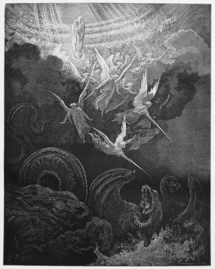 The Woman and Dragon. Picture from The Holy Scriptures, Old and New Testaments books collection published in 1885, Stuttgart-Germany. Drawings by Gustave Dore