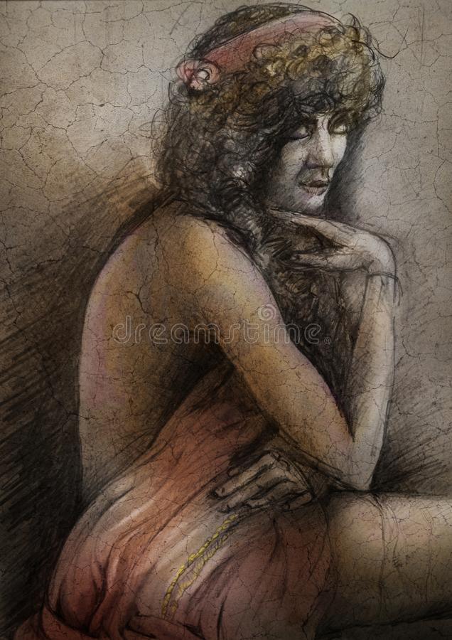 Woman draped in cloth. A hand drawn graphite image of a woman draped in cloth on a textured surface