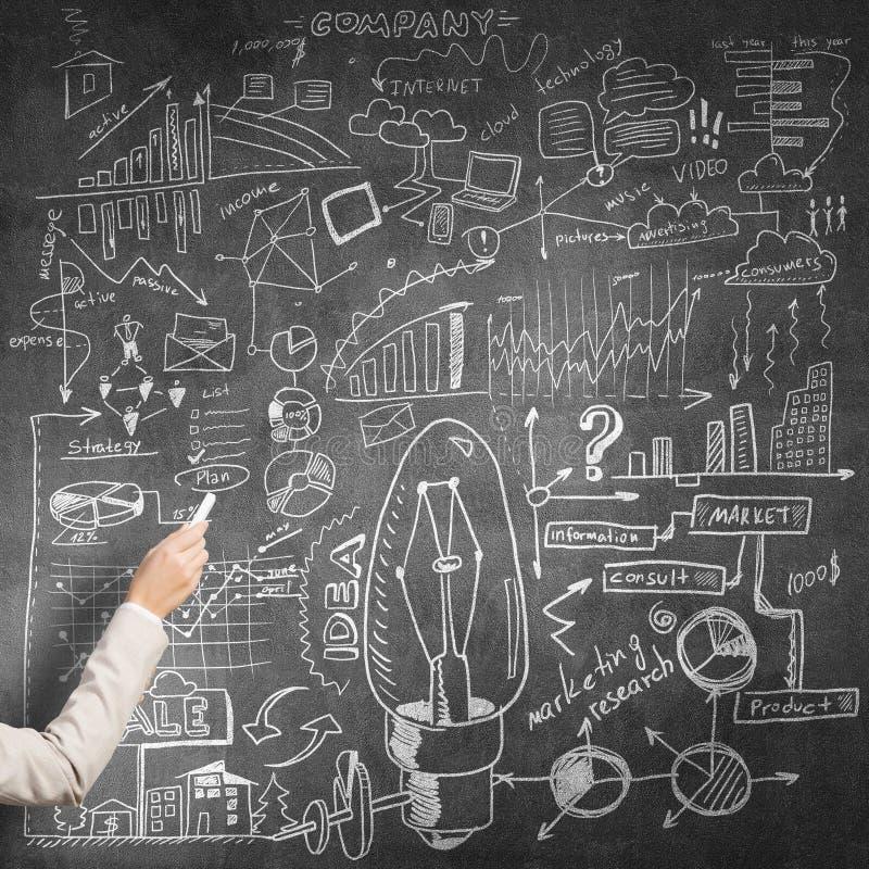 Woman draw on chalkboard stock photography