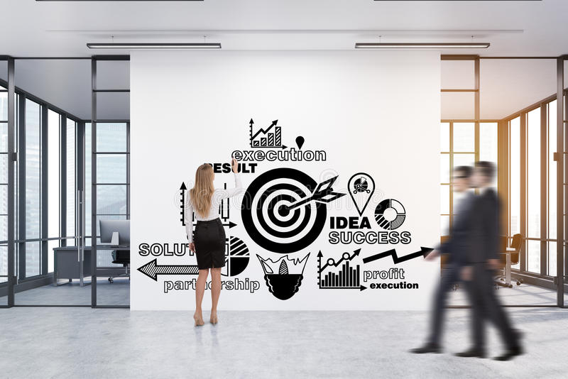 Woman drawing a business poster in a corridor with two meeting r. Rear view of a women drawing a business poster on a large white wall with two conference rooms stock images
