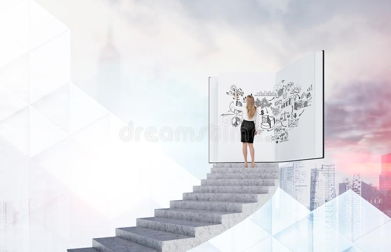 Woman drawing business strategy sketch in book royalty free stock photos