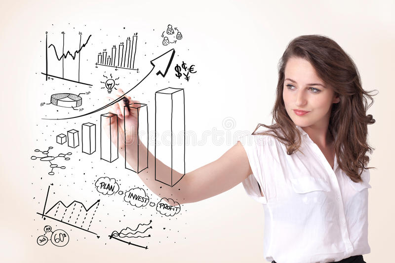 Download Woman Drawing Diagrams On Whiteboard Royalty Free Stock Images - Image: 27643589