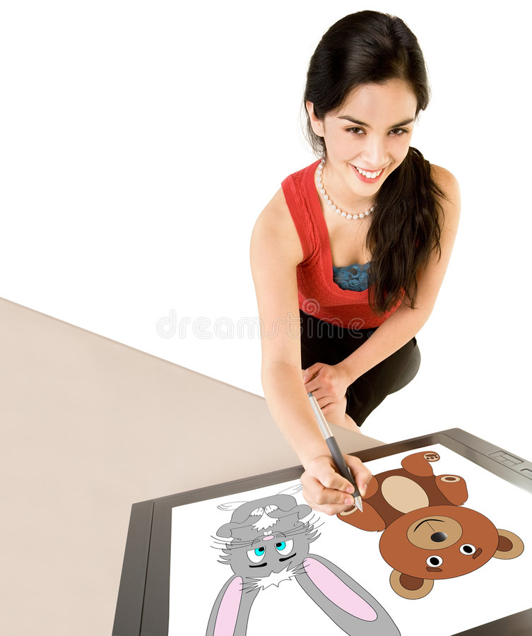 Download Woman Drawing On Digital Tablet Stock Image - Image of drawing, editing: 8011569