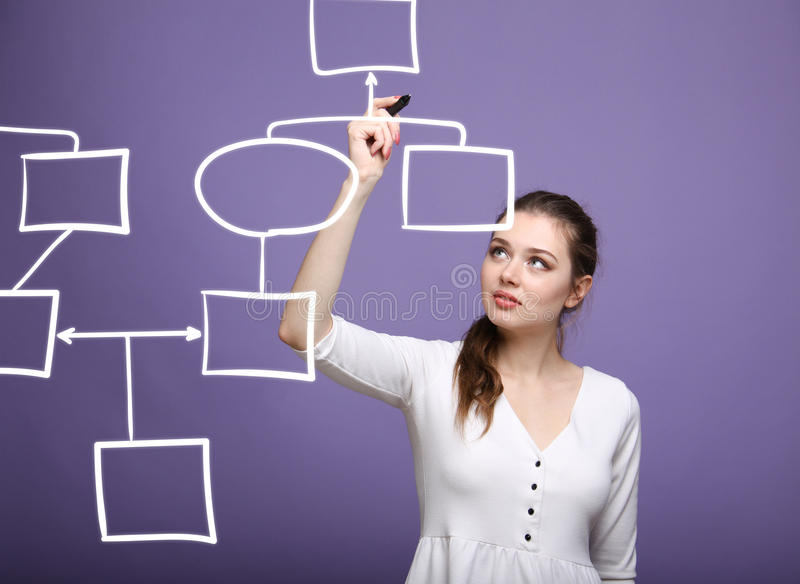 Woman drawing flowchart, business process concept. Businesswoman drawing flowchart, business process concept stock image