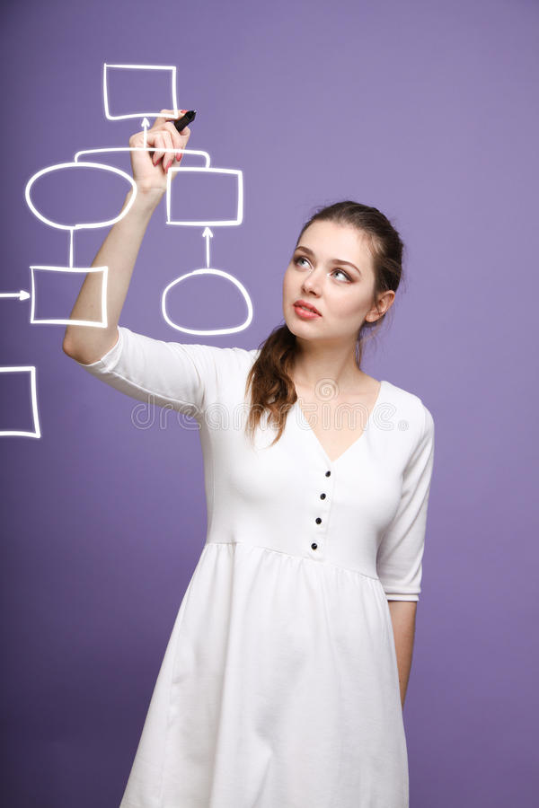 Woman drawing flowchart, business process concept stock photography