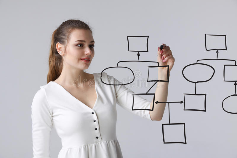 Woman drawing flowchart, business process concept. Businesswoman drawing flowchart, business process concept on grey background royalty free stock photos