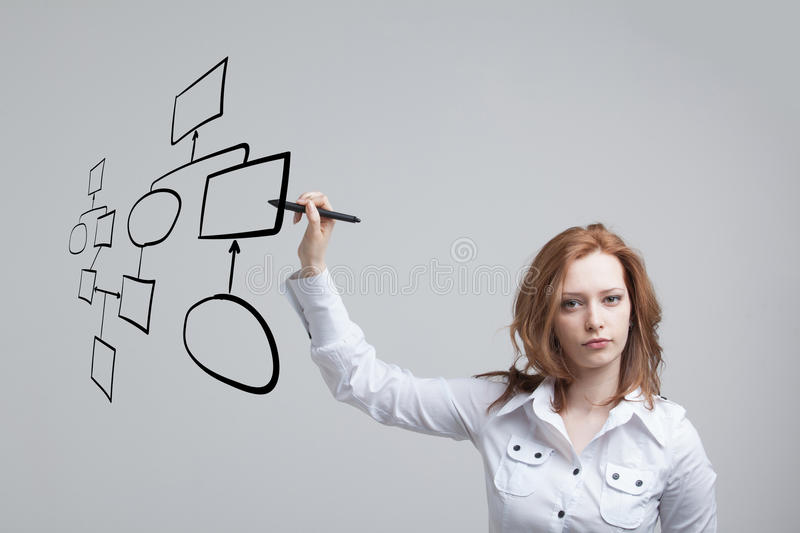 Woman drawing flowchart, business process concept. Businesswoman drawing flowchart, business process concept on grey background stock photos