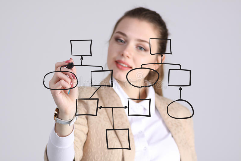 Woman drawing flowchart, business process concept. Businesswoman drawing flowchart, business process concept on grey background stock photography