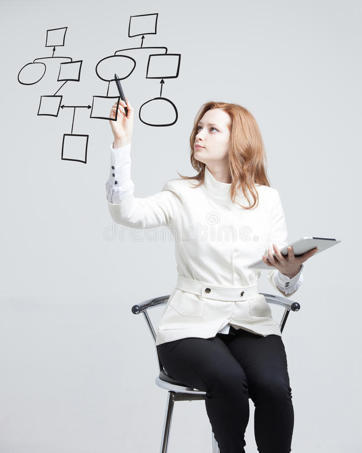 Woman drawing flowchart, business process concept. Businesswoman drawing flowchart, business process concept on grey background royalty free stock photo