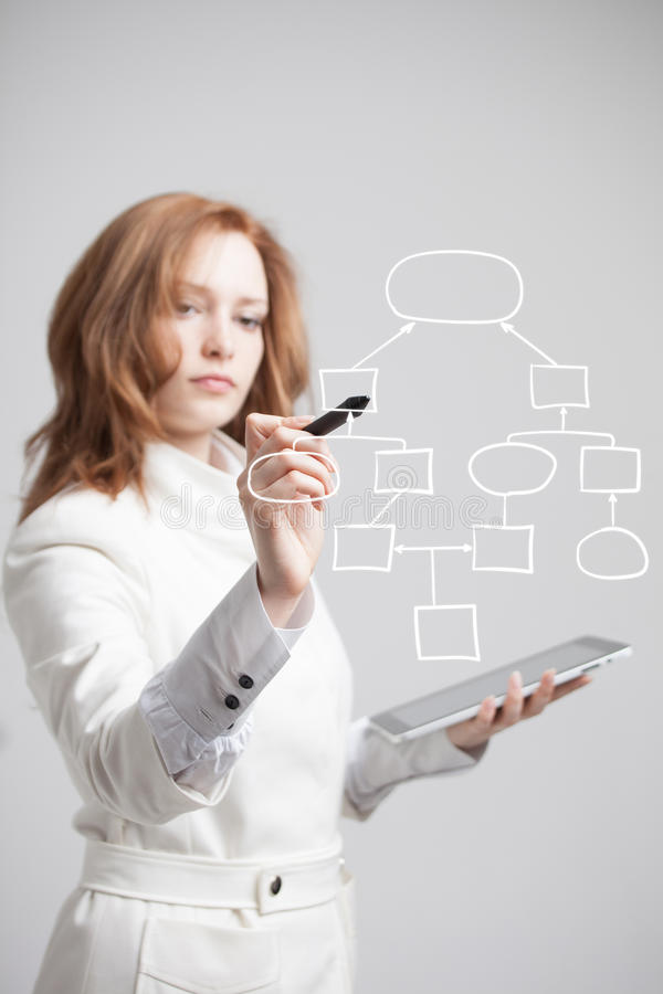 Woman drawing flowchart, business process concept. Businesswoman drawing flowchart, business process concept on grey background stock photo