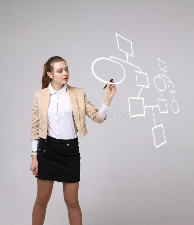 Woman drawing flowchart, business process concept. Businesswoman drawing flowchart, business process concept on grey background royalty free stock images