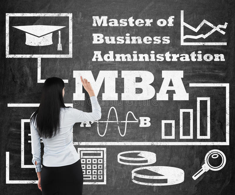 Woman is drawing a flowchart about MBA degree on the black chalk board stock images