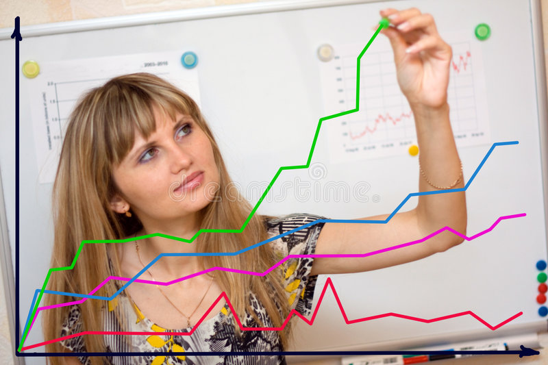 Download Woman drawing graphs stock photo. Image of achievement - 6341724