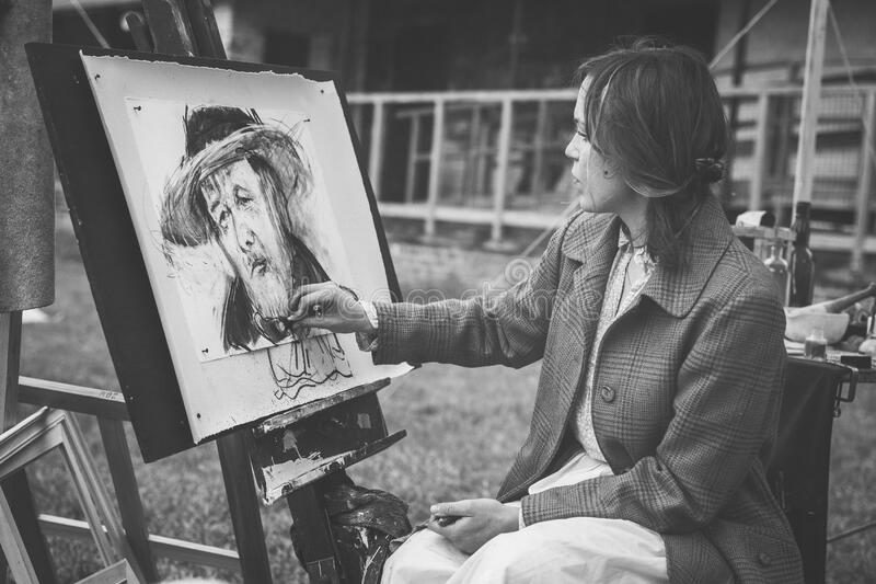 Woman Drawing A Man With Hat Free Public Domain Cc0 Image