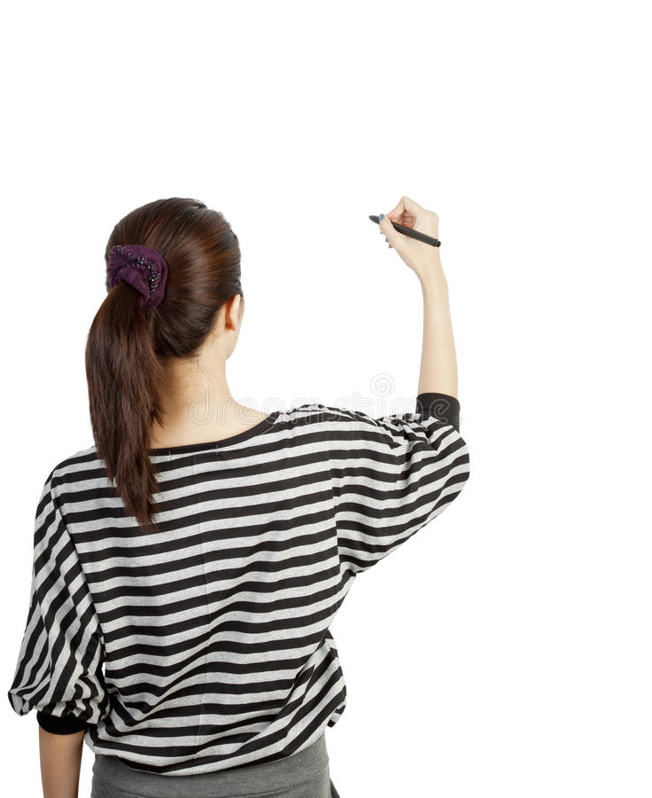 Woman drawing or writing. On white background stock photo