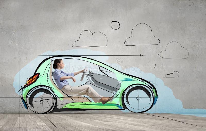 Woman in drawn car stock illustration