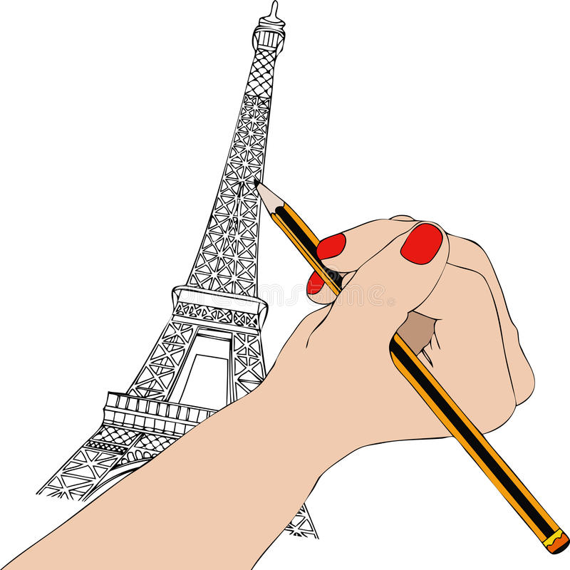 download woman draws the eiffel tower in paris stock illustration image 70145884