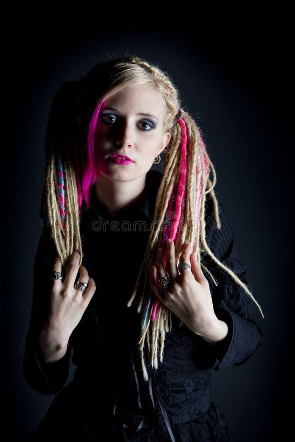 Woman with dreadlocks's portrait stock image