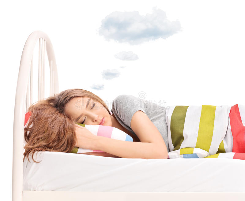 Woman dreaming with a cloud above head royalty free stock photo