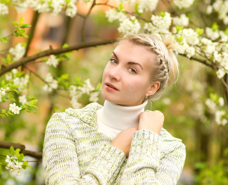 Download Woman dreaming outdoors stock image. Image of girl, blossom - 5174761