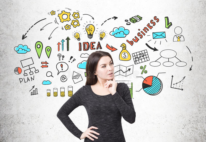 Woman in dress and business idea. Portrait of a businesswoman in a black dress standing near a concrete wall with business idea icons. Concept of stock photo