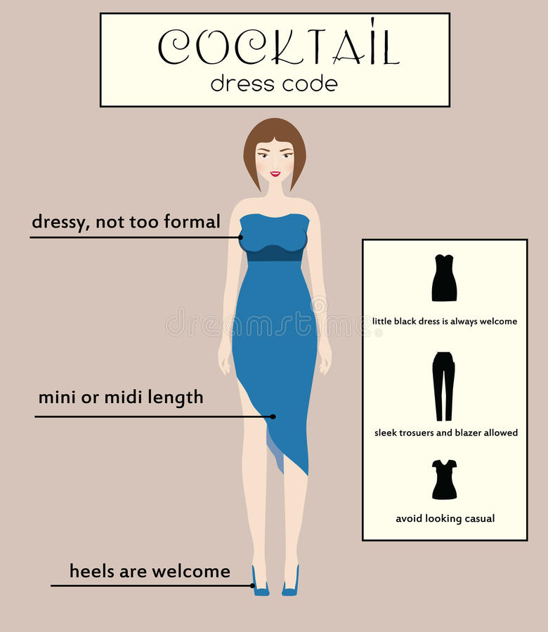 Woman Dress Code Infographic. Cocktail. Female In Dressy Blue Midi ...