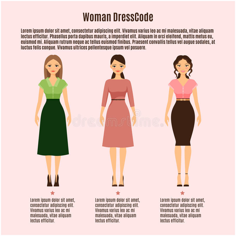 Woman Dress Code infographic on pink vector illustration
