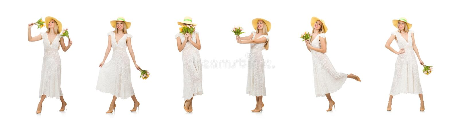 Woman in dress in fashion dress isolated on white royalty free stock photo