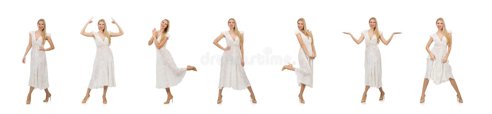 Woman in dress in fashion dress isolated on white stock photos