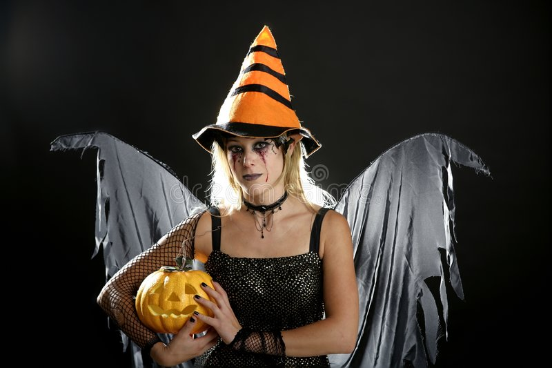 Download Woman Dress For Halloween And Pumpkin Stock Photo - Image: 8992434
