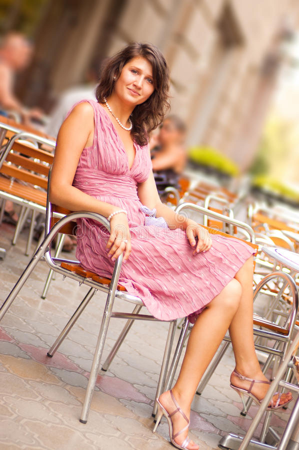 Woman in dress outdoor stock photo