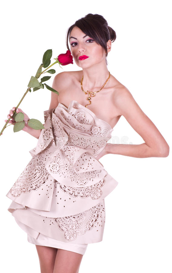 Woman In Dress With Red Rose Stock Image