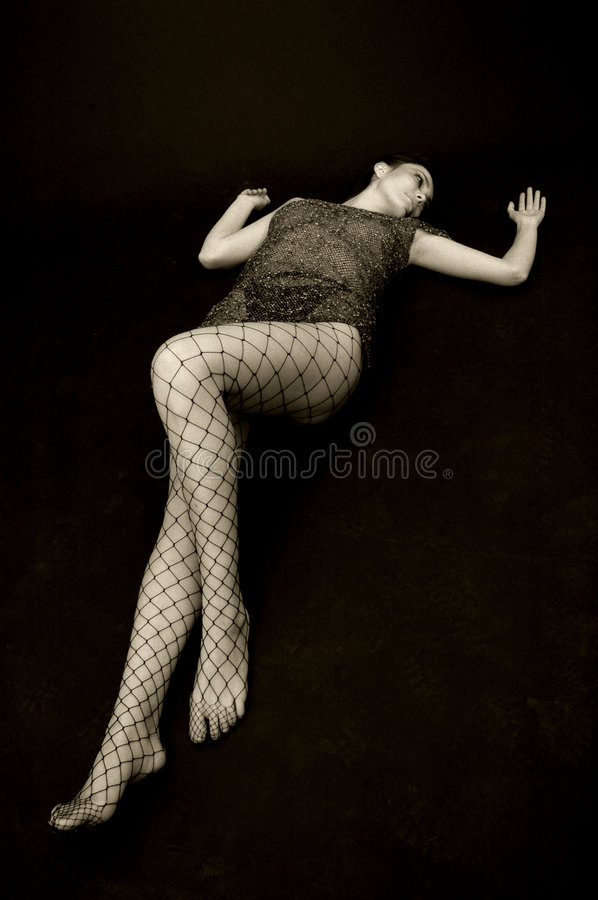Woman in dress and stockings royalty free stock photo