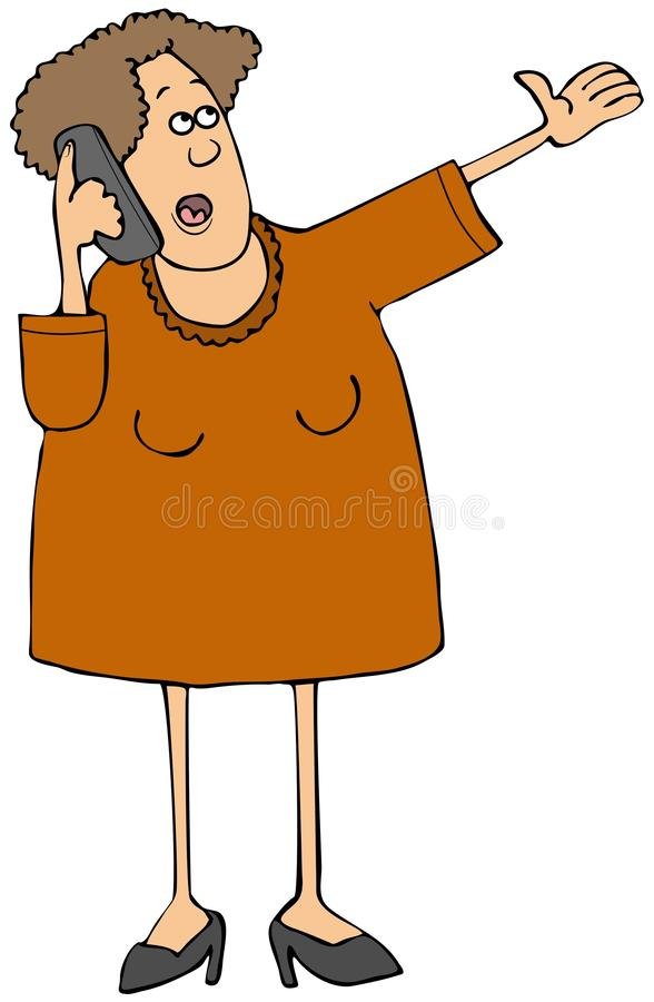 Woman in a dress talking on a mobile phone royalty free illustration