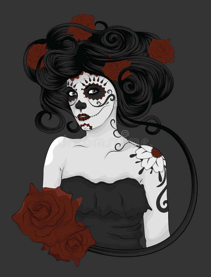Woman dressed as La Calavera Catrina stock illustration