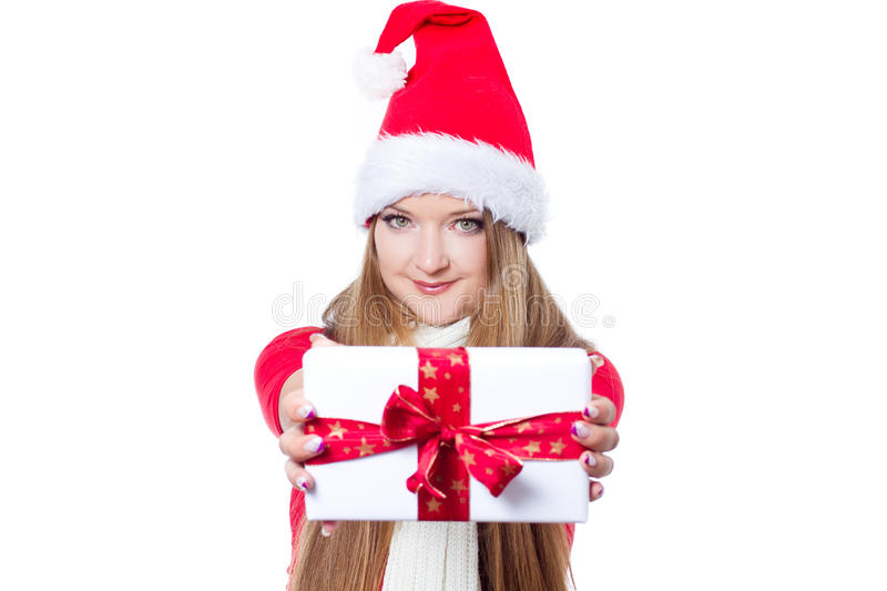 Woman Dressed As Santa And Holding Xmas Gift Royalty Free Stock Photography