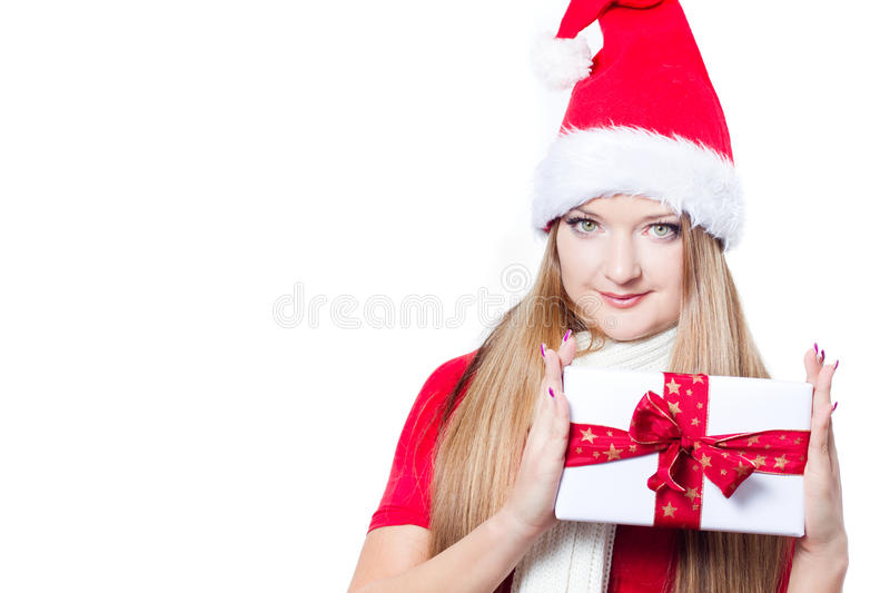 Download Woman Dressed As Santa And Holding Xmas Gift Stock Photo - Image: 22283542