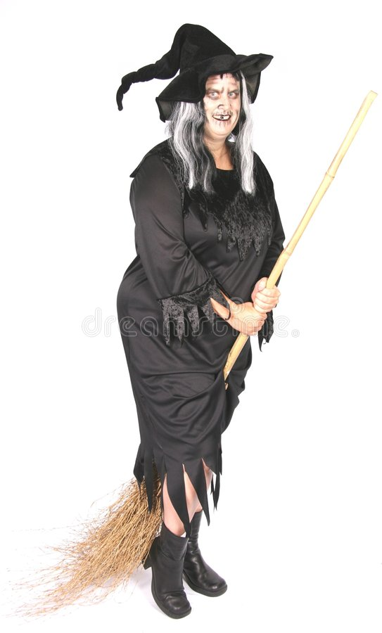 Woman Dressed as an Ugly Witch stock image