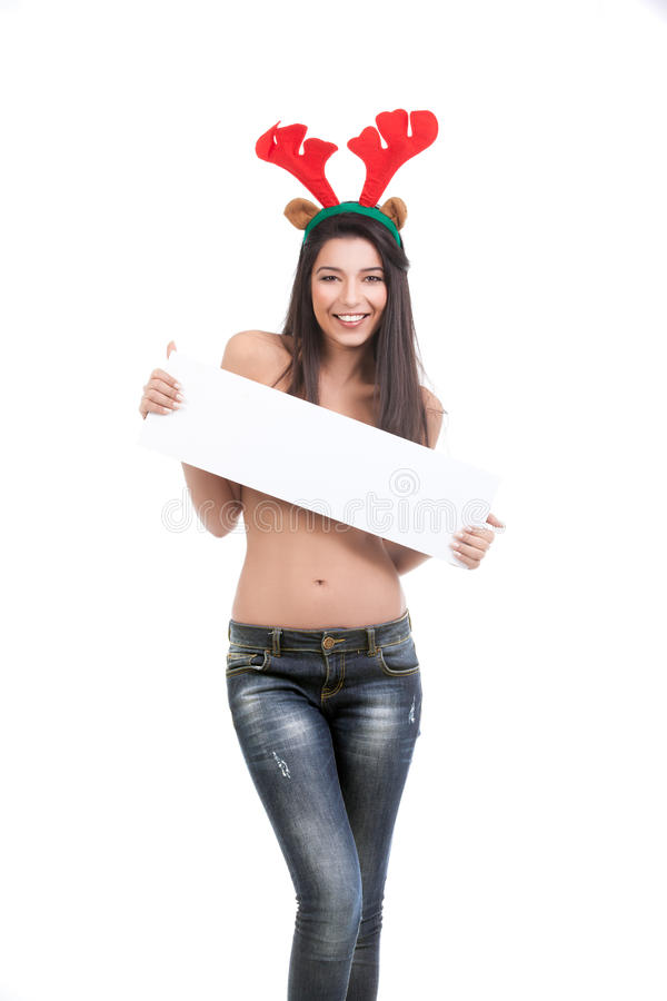 Download Woman Dressed In Blue Jeans And Reindeer Horns, Ho Stock Image - Image: 17164791