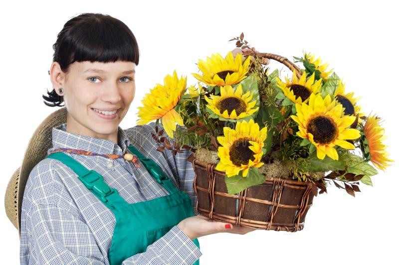 Woman dressed gardener royalty free stock photo