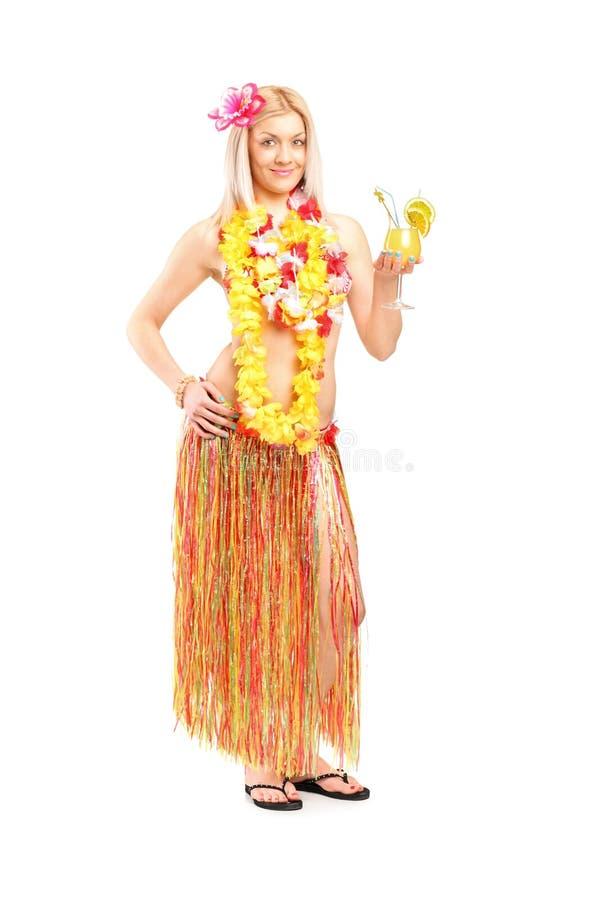 Woman Dressed In A Hawaiian Costume Stock Image