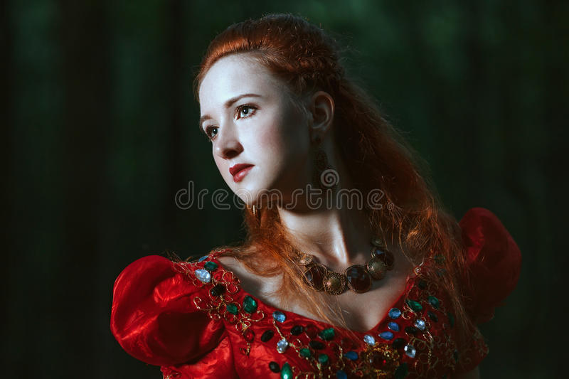 Woman dressed in medieval dress stock photos