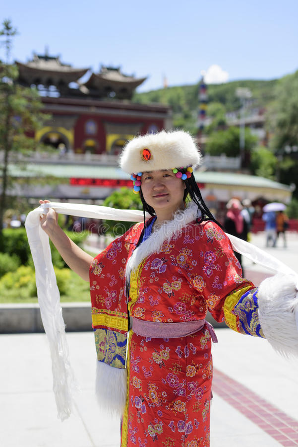 A woman dressed in Tibetan costume stock photos