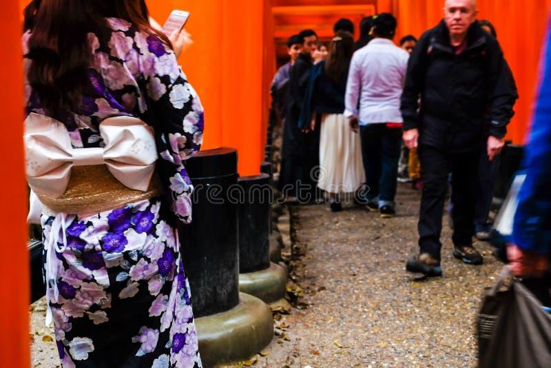 Woman dressed in traditional kimono japanese costume walking under tori gates stock photography