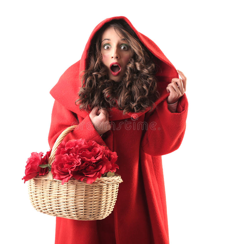 Download Woman Dressed Up As Little Red Riding Hood Stock Image - Image of stupor, traditional: 39497541