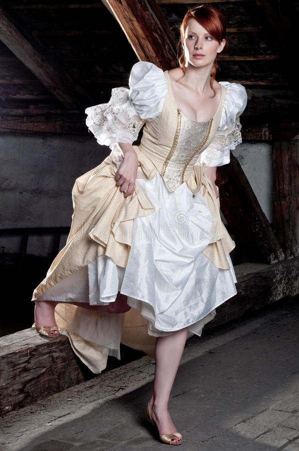 Woman dressed up like cinderella royalty free stock photography