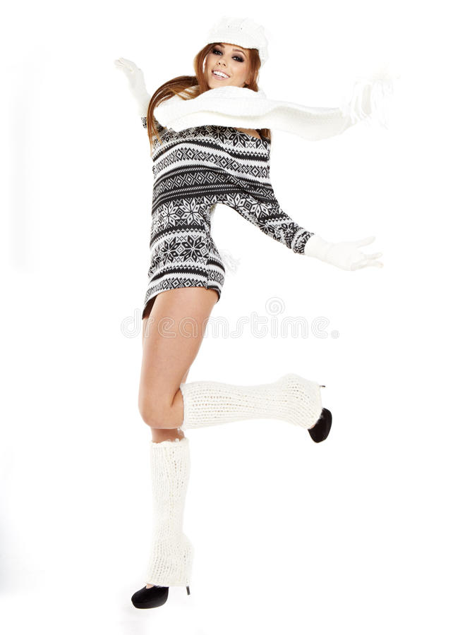 Download Woman Dressed For Winter, Over A White Backgro Royalty Free Stock Photo - Image: 28129235