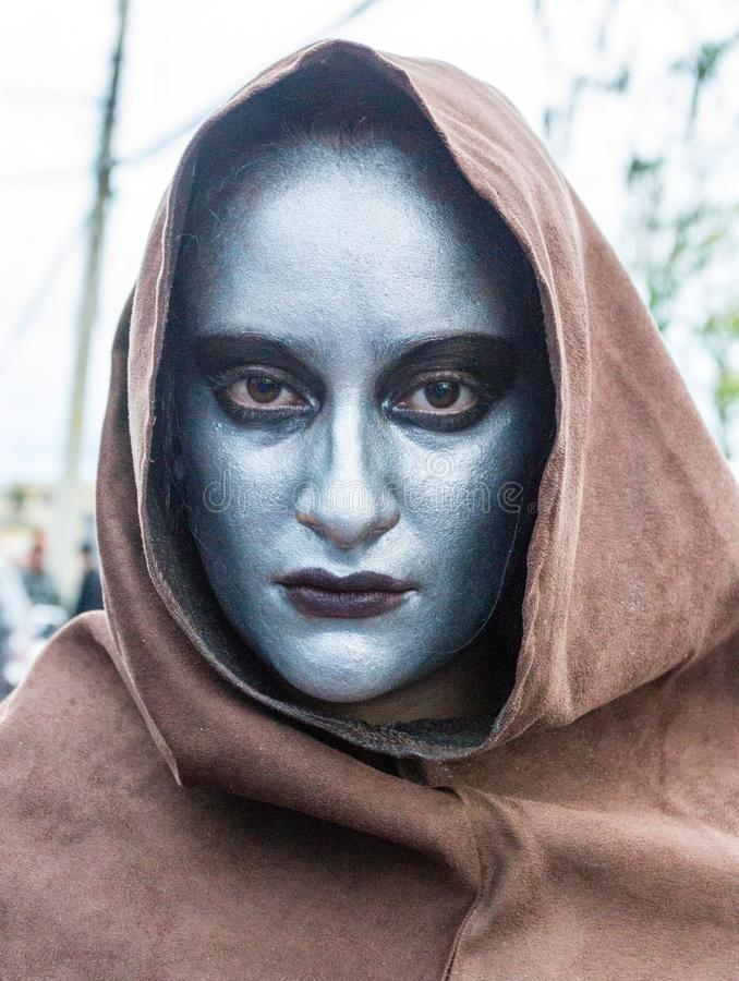 Woman dresses as ghoul for parade. Woman dresses as ghoul for Fool`s Day parade in Cuenca, Ecuador on Jan 5, 2014 stock photos