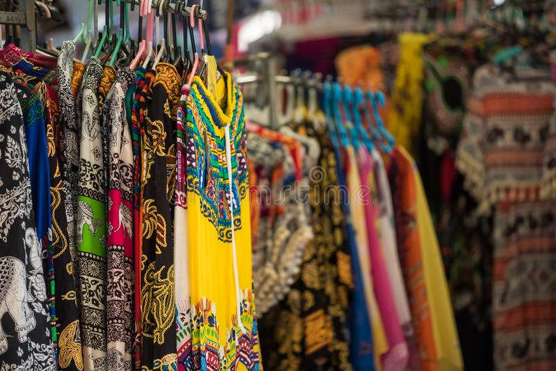 Woman dresses and pants in Thai market royalty free stock image